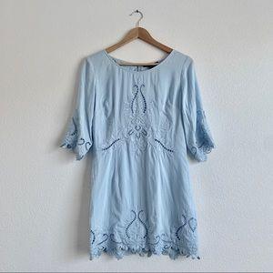 Baby Blue Eyelet 3/4 Sleeve Mini Dress - M